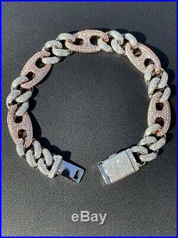 Miami Cuban Gucci Bracelet Two Tone Rose Gold Solid 925 Silver Rapper Hip Hop