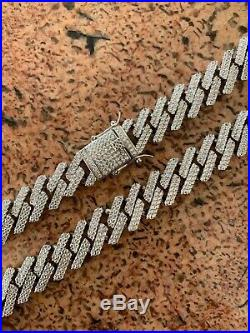Miami Cuban Prong Chain Real Solid 925 Sterling Silver 18 Choker 30 Iced Out