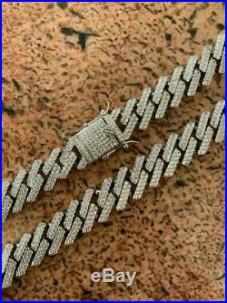 Miami Cuban Prong Chain Solid 925 Sterling Silver 18 Choker 30 Mens Necklace