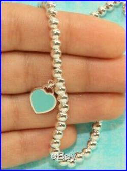 Mini Heart Tag Bead Ball Bracelet Tiffany Enamel 925 Solid Sterling Silver 17cm