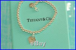Mini Heart Tag Bead Ball Bracelet Tiffany Enamel 925 Solid Sterling Silver 18cm