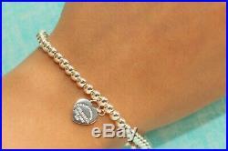 Mini Heart Tag Bead Ball Bracelet Tiffany Enamel 925 Solid Sterling Silver 19cm