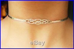 Mini Solid 925 Sterling Silver Neck Cuff Celtic Locking BDSM Slave Day Collar