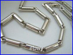 Modernist Solid Sterling Silver Mens Chunky Fancy Link 20 Chain Necklace Heavy