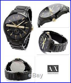 NWT Armani Exchange Men's Watch Black SS Bracelet & Gold SMART 48MM. AX2121 $200