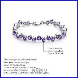 Natural Amethyst 9.04Ct Gemstones Solid 925 Sterling Silver Link Women Bracelets