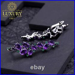 Natural Amethyst 9.78Ct Gems Solid 925 Sterling Silver Gothic Punk Clip Earrings