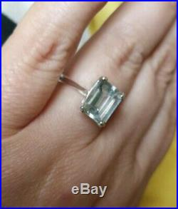 Natural Emerald octagon cut Aquamarine ring solid 925 Sterling silver size M vtg