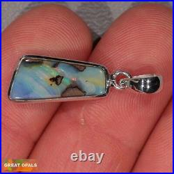 Natural Solid Australian Boulder Opal Sterling Silver Pendant Necklace & Chain