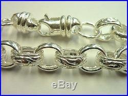 New 9 Solid Sterling Silver. 925 Plain & Patterned Belcher Bracelet 36 grams