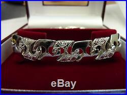 New Heavy Mens Solid Sterling Silver. 925 Patterned link Bracelet 8 33 grams