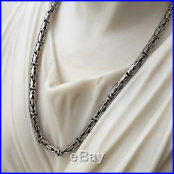 New Men Byzantine King 925 Sterling Silver Solid Chain Necklace 3mm 30GR 20 Inch