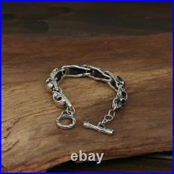 New Men's Solid 925 Sterling Silver Bracelet Link Skull Chain Jewelry