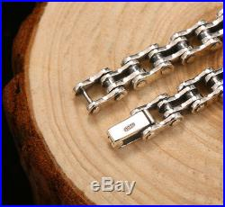 New! Real 925 Solid Sterling Silver Biker Bike Link Chain Bracelet Bangle Cuff