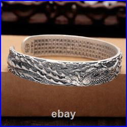 New Solid 999 Sterling Silver 12mm Dragon Pheonix Band Woman's Bangle 58mm Dia