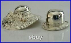 Novelty Cased Solid Sterling Silver Novelty His Hers Hat Menu Holders 2004