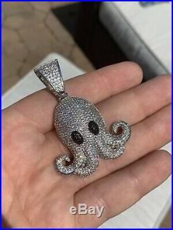 Octopus Emoji Pendant Solid 925 Sterling Silver ICY Diamond Hip Hop Piece Iced