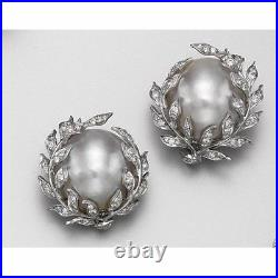 Pearl Stud Earrings designs Multi White Stone Studded Solid 925 Sterling Silver
