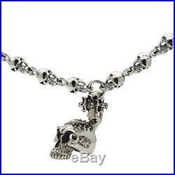 Punk Skull Solid 925 Sterling Silver Men's Chain Necklace Biker Gothic Pendant
