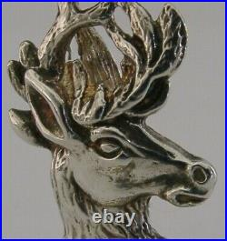 QUALITY ENGLISH SOLID STERLING SILVER CARD MENU HOLDER STAG 1993 HEAVY 35g