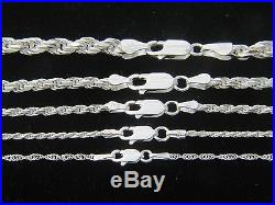 REAL 925 STERLING SILVER Diamond Cut ROPE Chain Necklace SOLID SILVER. 925 ITALY