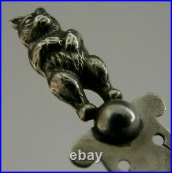 Rare Antique English Solid Sterling Silver Teddy Bear Bookmark 1907 Chester