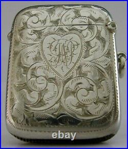 Rare Left Handed Solid Sterling Silver Vesta Case Love Heart 1908 Antique
