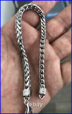 Real 925 Sterling Silver 5MM Solid Franco Square Box Link Bracelet ITALY 8 or 9