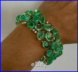 Real 925 Sterling Silver CZ Bracelet Solid Green Oval Tennis Handmade Beautiful