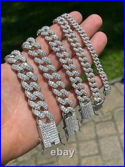 Real Miami Cuban Link Bracelet Iced Diamond Out Solid 925 Sterling Silver HEAVY