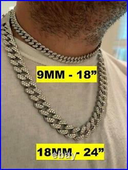 Real Miami Cuban Link Chain Iced MOISSANITE Solid 925 Sterling Silver Necklace