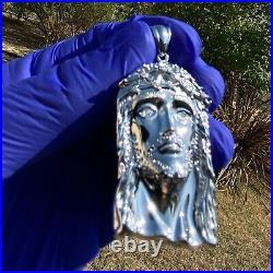 Real Natural Diamond (VS) Solid 925 Sterling Silver Jesus Medium Pendant 1.75
