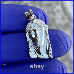 Real Natural Diamond VS Solid 925 Sterling Silver Jesus Piece Small Pendant 1