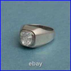 Real Polki Diamond Men's Wedding Ring Solid 925 Sterling Silver Handmade Ring