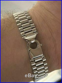 Real Solid 925 Silver Presidential Link 14mm Thick Mens Bracelet Hip Hop Custom