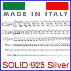 Real Solid 925 Sterling Silver Cuban Chain Men's Women's 2-14mm Italy Necklace