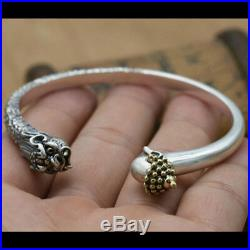 Real Solid 925 Sterling Silver Cuff Bracelet Buddhahood vs Demon Men's Jewelry