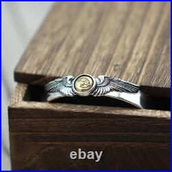 Real Solid 925 Sterling Silver Cuff Bracelet Eagle Wing