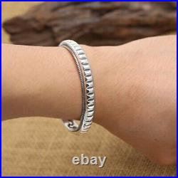 Real Solid 925 Sterling Silver Cuff Bracelet Simple and Smooth Open