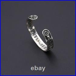Real Solid 925 Sterling Silver Cuff Bracelet Vajra Punk Jewelry