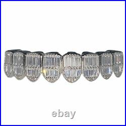 Real Solid 925 Sterling Silver Grillz Iced Baguettes 8 Teeth Top Bottom or Set