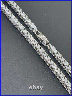 Real Solid 925 Sterling Silver Men's Franco Chain 6mm Thick ICED Diamond 18-30