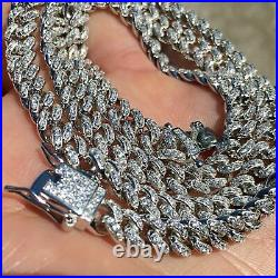Real Solid 925 Sterling Silver Miami Cuban Chain Micro Pave Iced Necklace 16-24
