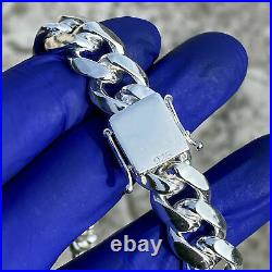 Real Solid 925 Sterling Silver Miami Cuban Chain Necklace Heavy 14MM Thick 20
