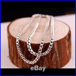 Real Solid 925 Sterling Silver Necklace Box Chain Men's 22