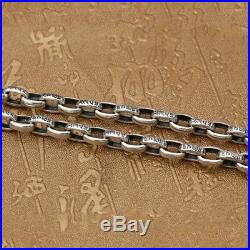 Real Solid 925 Sterling Silver Necklace Oval Vajra Loop Chain 18-32