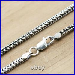 Real Solid 925 Sterling Silver Necklace Snake Bone Chain 18 20 22 24