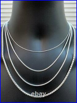 Real Solid 925 Sterling Silver Rounded Box Chain 1-3mm Necklace Men Ladies Snake