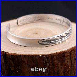 Real Solid 999 Sterling Silver Cuff Bracelet Love Feather Matte