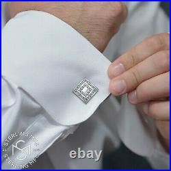 Real Solid Sterling Silver. 925 Cubic Zirconia Premium Cufflinks with Gift Box